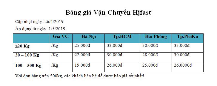 bảng giá vận chuyển 2019